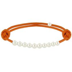 Bracelet Lien Numéro 10 Perle Blanche des Poulettes - Colors