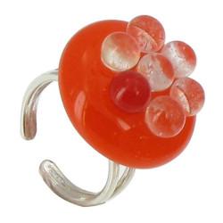 Petite Bague de Verre Bulles Orange