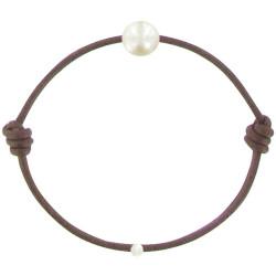 Bracelet La Perle de Culture Blanche des Poulettes Lien Chocolat