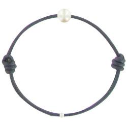 Bracelet La Perle de Culture Blanche des Poulettes Lien Bleu Navy