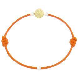 Bracelet La Perle en Or 18 K Diamantée des Poulettes Lien Orange