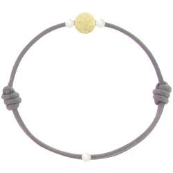 Bracelet La Perle en Or 18 K Diamantée des Poulettes Lien Gris Foncé