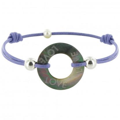 Bracelet Love Les Poulettes Nacre et Argent Lien Lilas