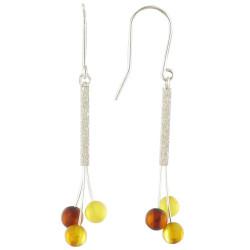 Boucles d'Oreilles Trois Perles d'Ambre Dégradé de Couleurs