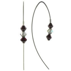 Boucles d'Oreilles Argent Trois Perles de Swarovski Rouge