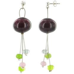Boucles d'Oreilles Bouquet de Verre Aubergine et ses Tiges de Perles