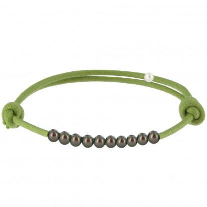 Bracelet Lien Numéro 10 Perle Noire des Poulettes - Lien Vert