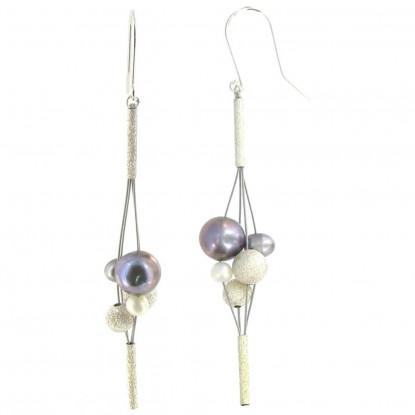Boucles d'Oreilles Grappe de Perles de Cultures et Argent