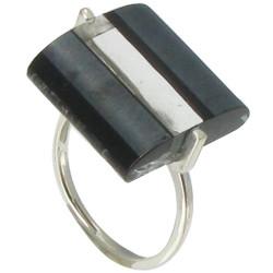 Bague Rayures Verre Rectangle Noire et Transparente.