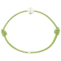 Bracelet La Perle de Culture Blanche des Poulettes Lien Vert