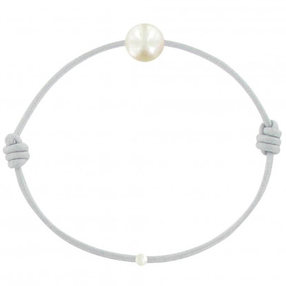 Bracelet La Perle de Culture Blanche des Poulettes Lien Gris Clair