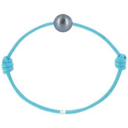 Bracelet La Perle de Culture Noire des Poulettes Lien Turquoise