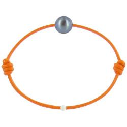 Bracelet La Perle de Culture Noire des Poulettes Lien Orange