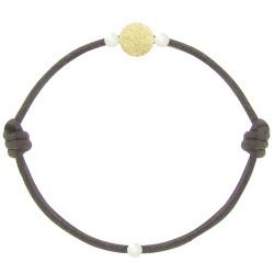 Bracelet La Perle en Or 18 K Diamantée des Poulettes Lien Marron Foncé