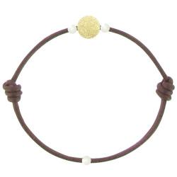 Bracelet La Perle en Or 18 K Diamantée des Poulettes Lien Chocolat