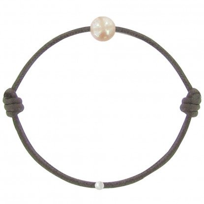 Bracelet La Perle Rose des Poulettes Lien Marron Foncé