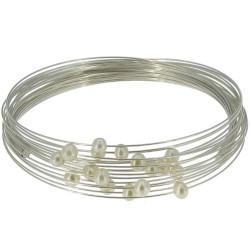 Bracelet Multifils Argent Perles de Cultures Blanches
