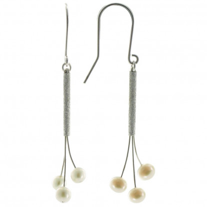 Boucles d'Oreilles Trois Perles de Culture Blanches