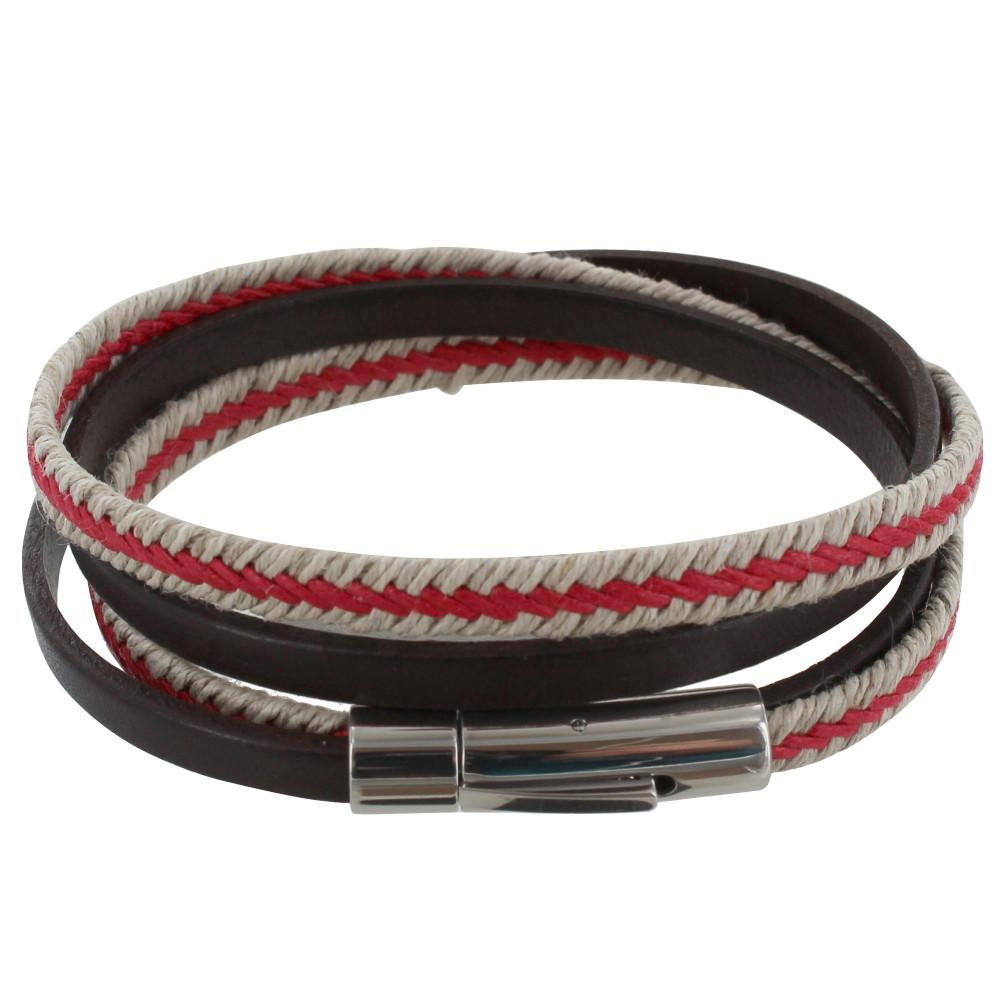 bracelet cuir homme rouge