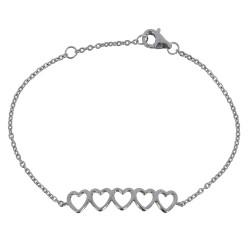 Bracelet Argent Rhodié Cinq Petit Coeurs
