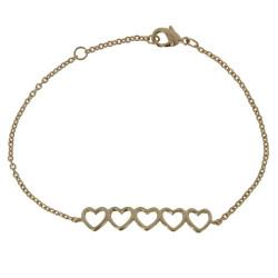 Bracelet Plaqué Or Cinq Petit Coeurs
