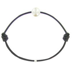 Bracelet La Perle de Culture Blanche des Poulettes Lien Noir