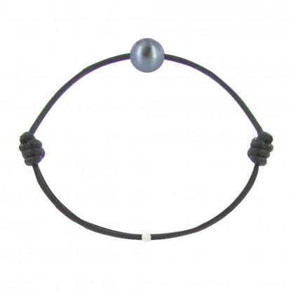 Bracelet La Perle de Culture Noire des Poulettes Lien Noir