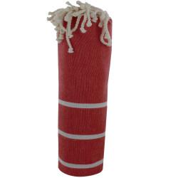 Fouta Drap Plage et Hammam Coton Couleur Rouge Foncé Petites Rayures Blanches