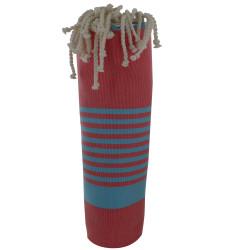 Fouta Drap Plage et Hammam Coton Couleur Rouge Petites Rayures Turquoise