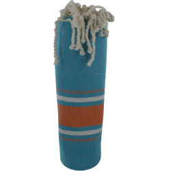 Fouta Drap Plage et Hammam Coton Couleur Turquoise Grosse Rayure Orange