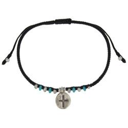Bracelet Médaille Croix et Perles Turquoise Lien Noir