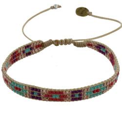 Bracelet Perles Rouge Violet Turquoise Bronze Lien Tréssé Beige