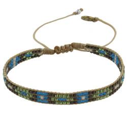 Bracelet Perles Bleu Vert Gris Lien Tréssé Beige