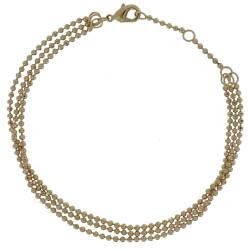 Bracelet Plaqué Or Trois Rangs et Perles à Facettes