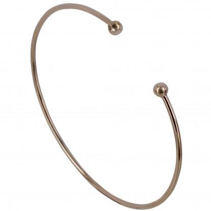 Bracelet Plaqué Or Rose Demi Jonc Deux Perles