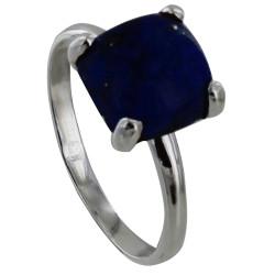 Bague Argent Pavé Carré de Lapis Lazuli