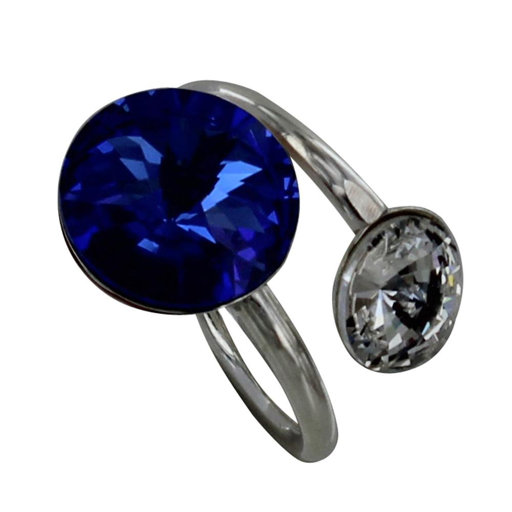 Bijoux Argent Swarovski : Bague argent swarovski bleu fonc? et cristal