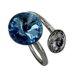Bague Argent Swarovski Bleu Ciel et Cristal