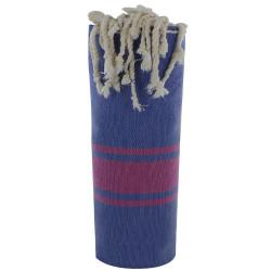Fouta Drap Plage et Hammam Coton Couleur Bleu Bandes Fuchsia