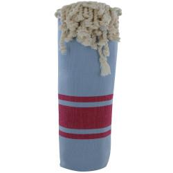 Fouta Drap Plage et Hammam Coton Couleur Bleu Ciel Bandes Fuchsia