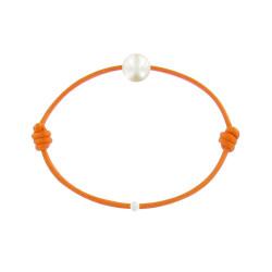 Bracelet La Perle de Culture Blanche des Poulettes Lien Orange