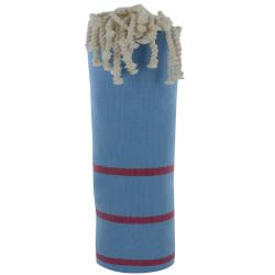 Fouta Drap Plage et Hammam Coton Couleur Bleu Ciel Petites Rayures Fuchsia