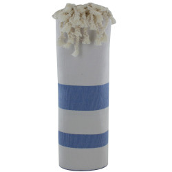 Fouta Drap Plage et Hammam Coton Blanc Rayé Bleu