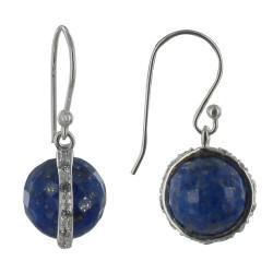 Boucles d'Oreilles Crochet Argent Sphère de Lapis Lazuli et Strass