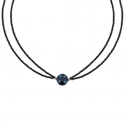 Collier Argent Rhodié Perle de Culture Gris Noire 11mm et Double Spinelle