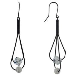 Boucles d'Oreilles Perles Swarovski Transparente et Argent