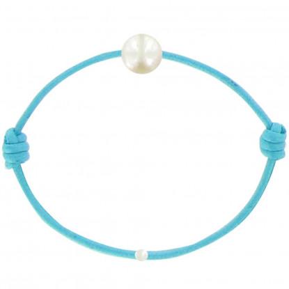 Bracelet La Perle de Culture Blanche des Poulettes Lien Turquoise