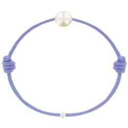 Bracelet La Perle de Culture Blanche des Poulettes Lien Lilas
