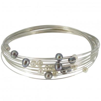 Bracelet Multifils Argent Rhodié Perles Noires et Blanches