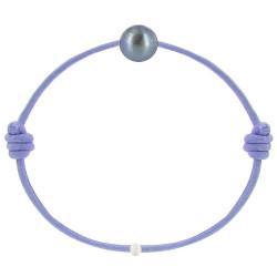 Bracelet La Perle de Culture Noire des Poulettes Lien Lilas